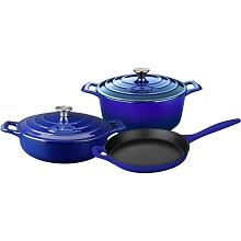 La Cuisine 5PC PRO Enameled Cast Iron Cookware Set in Sapphire - LC 2679MB
