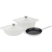 La Cuisine 5PC Enameled Cast Iron Cookware Set in White (Round Casserole) - LC 2680