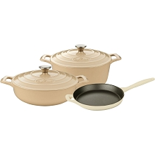 La Cuisine 5PC Enameled Cast Iron Cookware Set in Cream (Round Casserole) - LC 2685