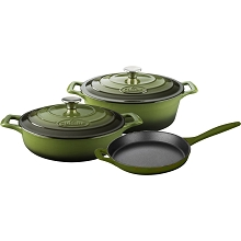 La Cuisine PRO 5PC Enameled Cast Iron Cookware Set in Green (Oval Casserole) - LC 2750MB