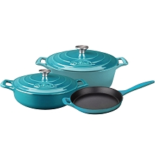 La Cuisine PRO 5PC Enameled Cast Iron Cookware Set in High Gloss Teal (Oval Casserole) - LC 2775MB