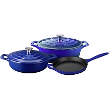 La Cuisine 5PC Enameled Cast Iron Cookware Set in High Gloss Sapphire (Oval Casserole) - LC 2779