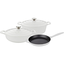 La Cuisine PRO 5PC Enameled Cast Iron Cookware Set in White (Oval Casserole) - LC 2780MB