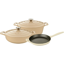 La Cuisine PRO 5PC Enameled Cast Iron Cookware Set in Cream (Oval Casserole) - LC 2785MB