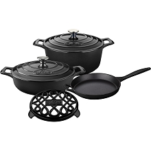 La Cuisine PRO 6PC Enameled Cast Iron Cookware Set in Black (Round Casserole/Trivet) - LC 2840MB