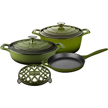 La Cuisine 6PC Enameled Cast Iron Cookware Set in Green (Round Casserole/Trivet) - LC 2850