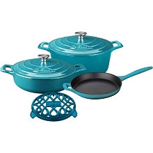 La Cuisine 6PC PRO Enameled Cast Iron Cookware Set in Teal  - LC 2875MB