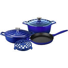 La Cuisine PRO 6PC Enameled Cast Iron Cookware Set in Sapphire - LC 2879MB