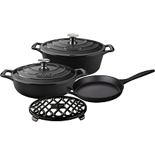 La Cuisine 6PC Enameled Cast Iron Cookware Set in Black (Oval Casserole/Trivet) - LC 2940