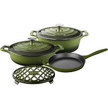 La Cuisine 6PC Enameled Cast Iron Cookware Set in Green (Oval Casserole/Trivet) - LC 2950