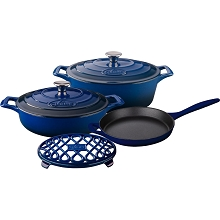La Cuisine PRO 6PC Enameled Cast Iron Cookware Set in Blue (Oval Casserole/Trivet) - LC 2970MB