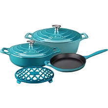 La Cuisine 6PC Enameled Cast Iron Cookware Set in High Gloss Teal (Oval Casserole/Trivet) - LC 2975