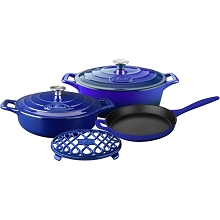 La Cuisine 6PC PRO Enameled Cast Iron Cookware Set in Sapphire  - LC 2979MB