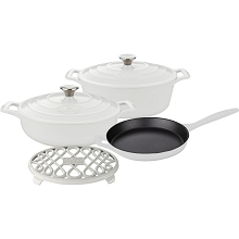 La Cuisine PRO 6PC Enameled Cast Iron Cookware Set in White (Oval Casserole/Trivet) - LC 2980MB