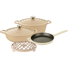 La Cuisine PRO 6PC Enameled Cast Iron Cookware Set in Cream (Oval Casserole/Trivet) - LC 2985MB