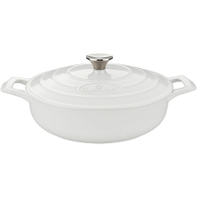 La Cuisine PRO Saute 3.75 Qt. Cast Iron Casserole with Enamel Finish in White - LC 3180MB