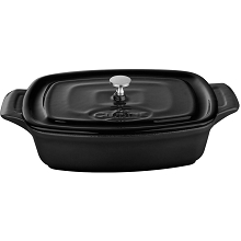 La Cuisine Mini Rectangular 7 In. Cast Iron Casserole in Black - LC 3240