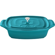 La Cuisine Mini Rectangular 7 In. Cast Iron Casserole in High Gloss Teal - LC 3275