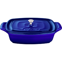 La Cuisine Mini Rectangular 7 In. Cast Iron Casserole in High Gloss Sapphire - LC 3279