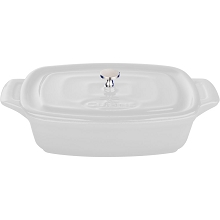 La Cuisine Mini Rectangular 7 In. Cast Iron Casserole in White - LC 3280