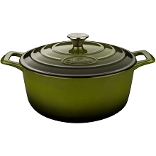 La Cuisine Round 3.7 Qt. Cast Iron Casserole with Enamel Finish in Green - LC 5150