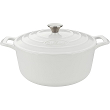 La Cuisine PRO Round 3.7 Qt. Cast Iron Casserole with Enamel Finish in White - LC 5180MB