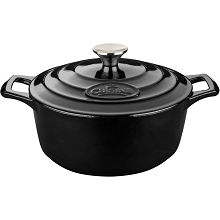 La Cuisine PRO Round 6.5 Qt. Cast Iron Casserole with Enamel Finish in Black - LC 5240MB