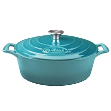 La Cuisine Oval 4.75 Qt. Cast Iron Casserole with Enamel Finish in High Gloss Teal - LC 6175