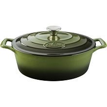 La Cuisine Oval 6.75 Qt. Cast Iron Casserole with Enamel Finish in Green - LC 6250