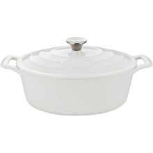 La Cuisine PRO Oval 6.75 Qt. Cast Iron Casserole with Enamel Finish in White - LC 6280MB