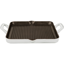 La Cuisine Rectangular 1 Qt. Cast Iron Grill Pan with Enamel Finish in White - LC 7180