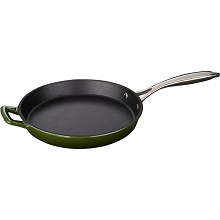 La Cuisine 10 In. Cast Iron Fry Pan with Enamel Finish in Green - LC 7350