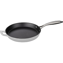 La Cuisine 10 In. Cast Iron Fry Pan with Enamel Finish in White - LC 7380