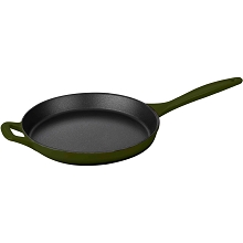 La Cuisine 10 In. Cast Iron Skillet with Enamel Finish in Green - LC 7550