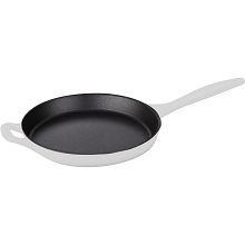 La Cuisine 10 In. Cast Iron Skillet with Enamel Finish in White - LC 7580