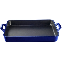 La Cuisine Shallow Cast Iron Roasting Pan with Enamel Finish in High Gloss Sapphire - LC 8179