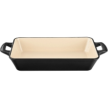 La Cuisine Small Deep Cast Iron Roasting Pan with Enamel Finish in Black - LC 8240