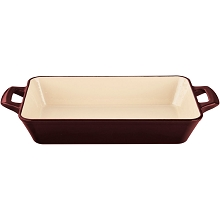 La Cuisine Medium Deep Cast Iron Roasting Pan with Enamel Finish in Ruby - LC 8305