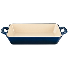 La Cuisine Medium Deep Cast Iron Roasting Pan with Enamel Finish in Blue - LC 8370