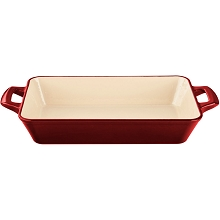La Cuisine Large Deep Cast Iron Roasting Pan with Enamel Finish in Red - LC 8400