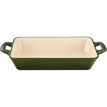 La Cuisine Large Deep Cast Iron Roasting Pan with Enamel Finish in Green - LC 8450