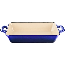 La Cuisine Large Deep Cast Iron Roasting Pan with Enamel Finish in High Gloss Sapphire - LC 8479