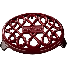 La Cuisine 7 In. Round Cast Iron Trivet in Red - LC 8500
