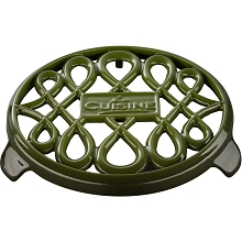 La Cuisine 7 In. Round Cast Iron Trivet in Green - LC 8550
