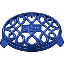 La Cuisine 7 In. Round Cast Iron Trivet in High Gloss Sapphire - LC 8579