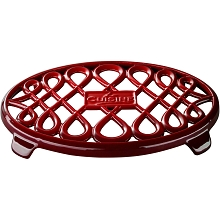 La Cuisine 10 in. x 7 in. Oval Cast Iron Trivet in Red - LC 8600