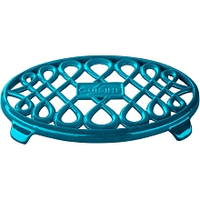 La Cuisine 10 in. x 7 in. Oval Cast Iron Trivet in High Gloss Teal - LC 8675