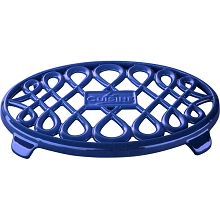 La Cuisine 10 in. x 7 in. Oval Cast Iron Trivet in High Gloss Sapphire - LC 8679