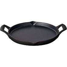La Cuisine 12 In. Cast Iron Griddle with Enamel Finish in Black - LC 9140