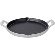 La Cuisine 12 In. Cast Iron Griddle with Enamel Finish in White - LC 9180